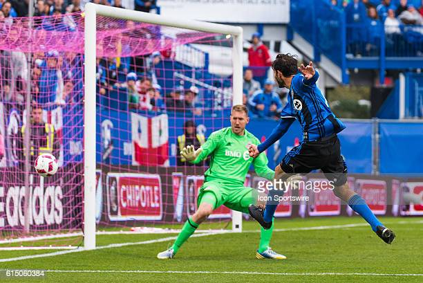 Montreal Impact Midfielder Ignacio Piatti shooting on the goal and missing the target during the Toronto FC versus the Montreal Impact game at Stade...