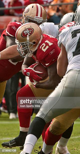 San Francisco 49ers running back Frank Gore finds hole in Raiders line on Sunday October 17 2010 at Candlestick Park in San Francisco California The...