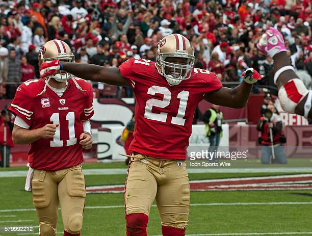 San Francisco 49ers running back Frank Gore celebrates touchdown on Sunday October 17 2010 at Candlestick Park in San Francisco California The 49ers...