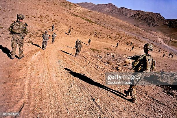 October 17, 2011 - Soldiers of Provincial Reconstruction Team Zabul, patrol to a village in the district of Mizan, Afghanistan.