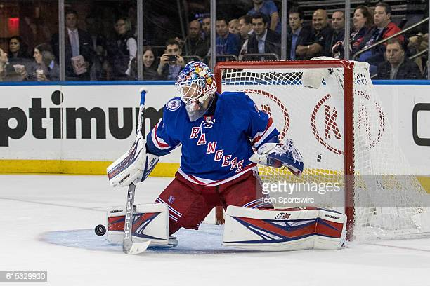 New York Rangers Goalie Antti Raanta with a save during the first period of a NHL game between the San Jose Sharks and the New York Rangers at...