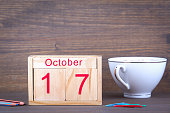 October 17. close-up wooden calendar. Time planning and business background.