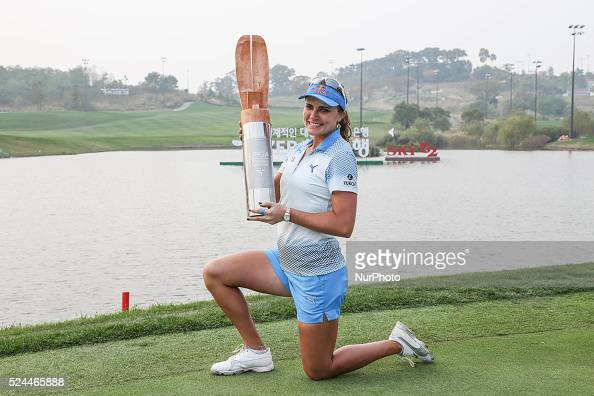 Lexi Thompson of United States hold trophy with wins ceremony during the LPGA KEB HANA Bank Chapionship Final Round at Sky72 Ocean golf club in...