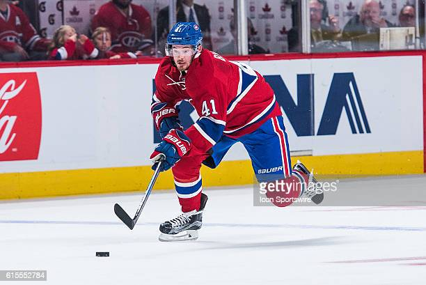 Montreal Canadiens Left Wing Paul Byron getting away with the puck during the Pittsburgh Penguins versus the Montreal Canadiens game at Bell Centre...