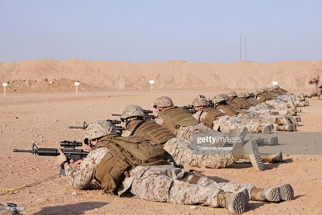 October 19, 2012 - U.S. Marines conduct a battlefield zero at Camp Leatherneck, Helmand Province, Afghanistan.