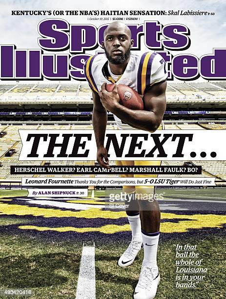 October 19 2015 Sports Illustrated Cover Portrait of LSU running back Leonard Fournette posing during photo shoot at Tiger Stadium Baton Rouge LA...