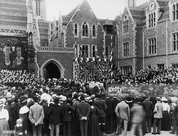 Lord Baden Powell founder of the Boy Scout movement at Charterhouse School Godalming laying the foundation stone of cloisters in memory of Old...