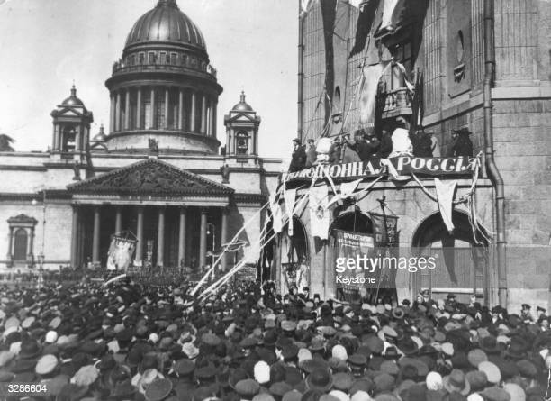 Demonstration before Saint Isaac's Cathedral in Petrograd formerly St Petersburg during the October phase of the Russian Revolution