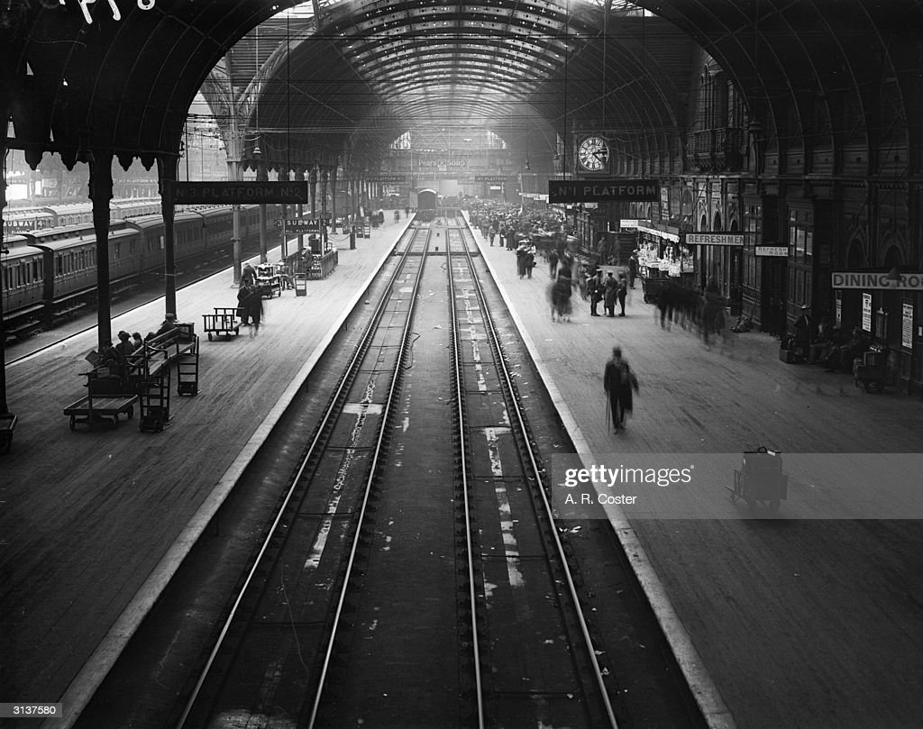 Paddington station, London, during a railway strike, with hopeful travellers crowding onto one end of the platform.