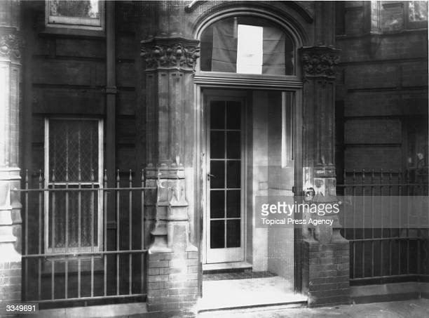 A Sinn Fein flag hanging above the door at 22 Hans Place in London