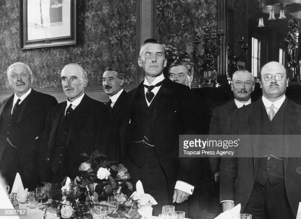 British politician Joseph Austen Chamberlain gives a speech at a dinner in Birmingham