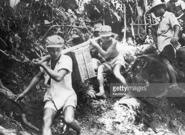 Barefooted Filipino civilians carry cases of field rations over a tortuous jungle trail toward the front line in the north of Leyte Island in the...