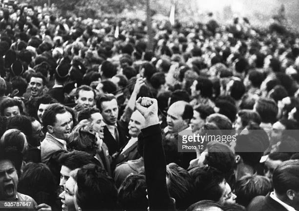 October 1956 Budapest first day of the Revolution 60000 students and citizens gather together October 23 Hongrie Hungarian uprising of 1956 National...