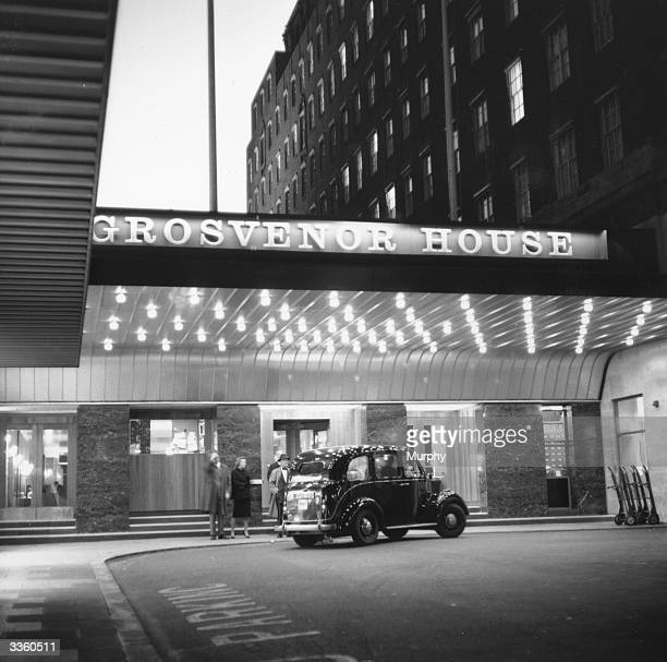 The entrance to the Grosvenor House Hotel on Park Lane London