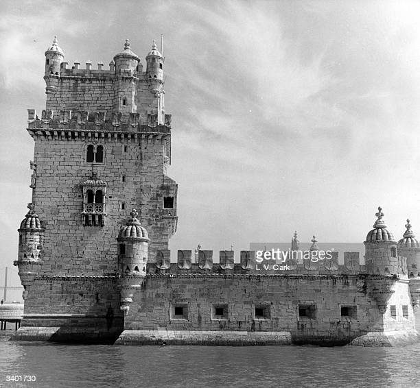 The Tower of Belem in the Portuguese capital of Lisbon built in honour of the patron saint of Lisbon St Vincent on the former anchorage site of the...