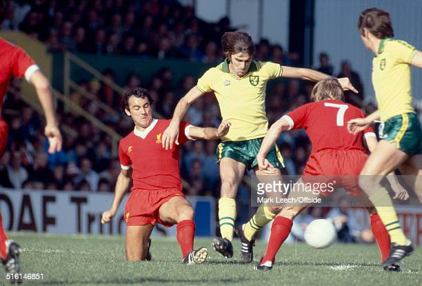 07 October 1978 English Football League Division One Norwich City v Liverpool Ray Kennedy of Liverpool tackles John Ryan of Norwich
