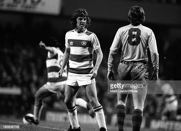 03 October 1978 Football League Cup Queens Park Rangers v Swansea City Stan Bowles reacts angrily to a challenge by Robbie James of City