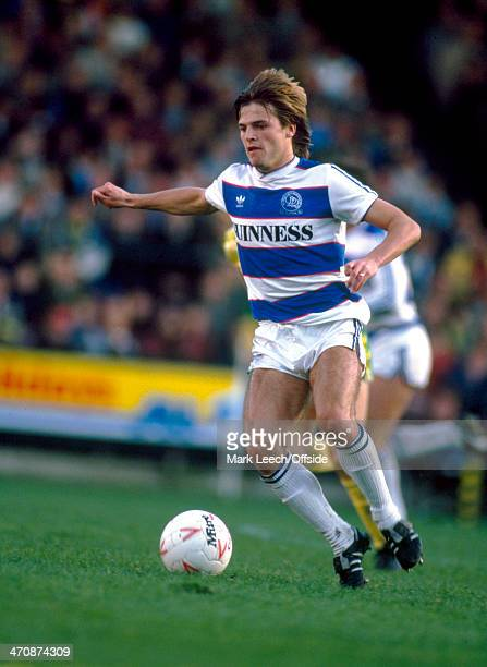 27 October 1984 Football League Division One Norwich City v Queens Park Rangers Gary Bannister of QPR in action against Norwich City