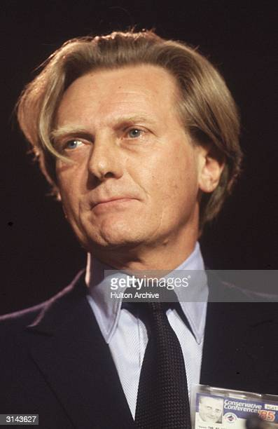 British Conservative politician and Defence Secretary Michael Heseltine at the Conservative Party conference in Blackpool