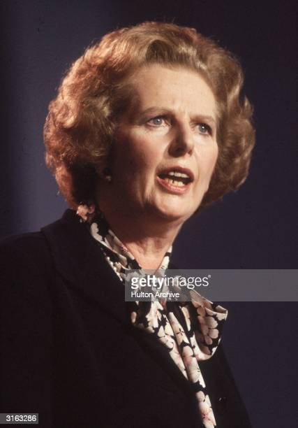 British prime minister Margaret Thatcher speaking at the Conservative Party Conference in Blackpool