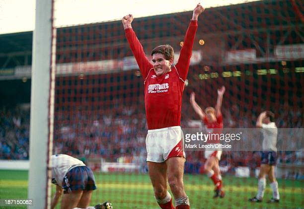 24 October 1987 Football League Division One Nottingham Forest v Tottenham Hotspur Nigel Clough celebrates after scoring the third goal for Forest in...