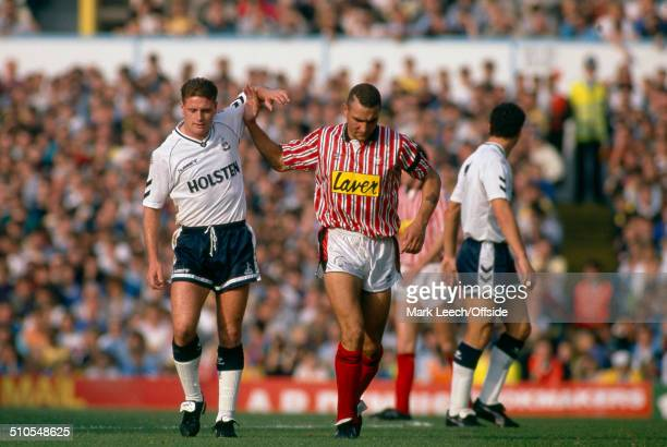20 October 1990 English Football League Division One Tottenham Hotspur v Sheffield United Paul Gascoigne of Tottenham is given a helping hand by...