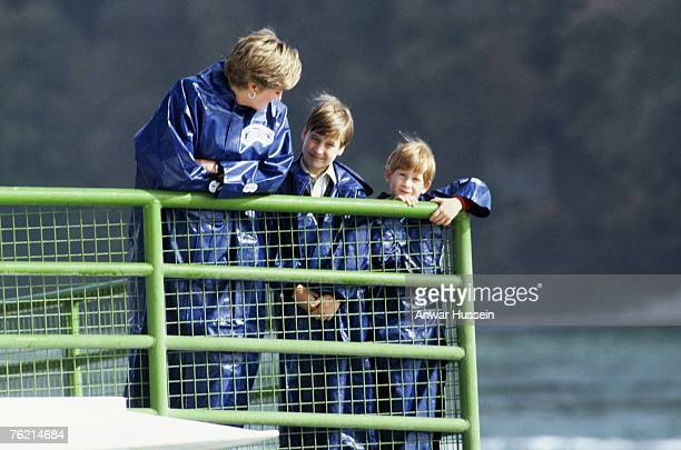 A 1991 photo of Princess Diana Princess of Wales with sons Prince William and Prince Harry at Niagra Falls Canada