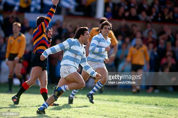04 October 1991 Rugby World Cup Argentina v Australia Martin Teran Nougues of Argentina celebrates his second try