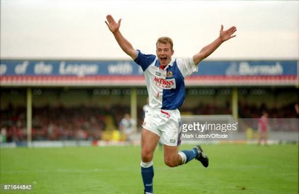 FA Carling Premiership Swindon Town v Blackburn Rovers Alan Shearer of Rovers celebrates a goal