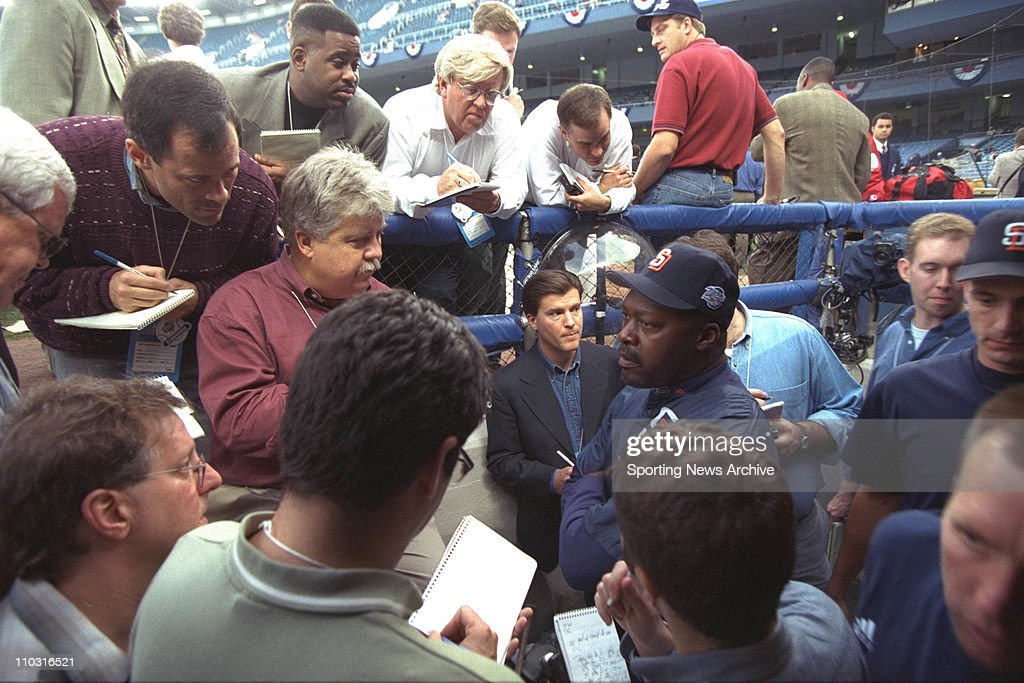 Pitching coach Dave Stewart of the San Diego Padres ansrwers questions prior to the Padres 93 loss to the New York Yankees in game two of the World...