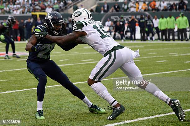 Seattle Seahawks Cornerback Richard Sherman and New York Jets Wide Receiver Brandon Marshall battled all day during the NY Jets vs Seattle Seahawks...