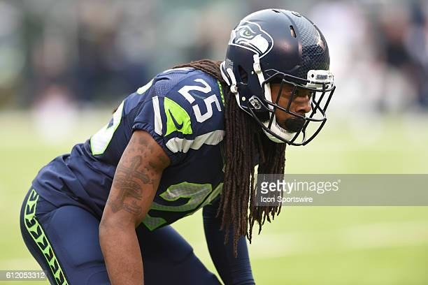 Seattle Seahawks Cornerback Richard Sherman lines up against New York Jets Wide Receiver Brandon Marshall during the NY Jets vs Seattle Seahawks game...