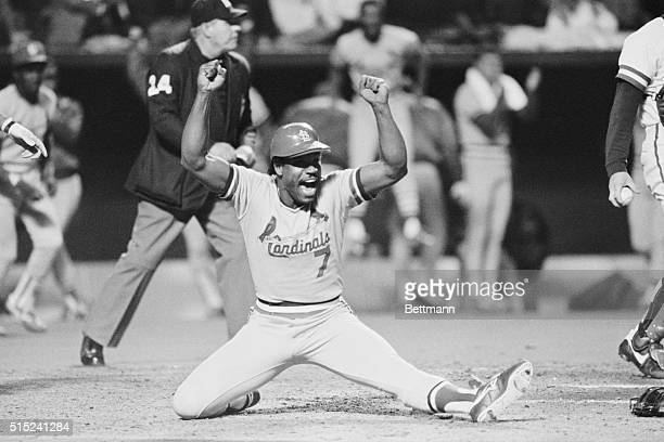 October 20 1985 Kansas City Cards' Cesar Cedeno is one happy bird as he scores the team's 4th run in the 9th inning of game 2 to down the Royals 42