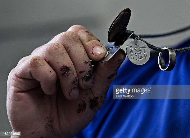 October 20 2010WOUNDED GERMANYChief Petty Officer Second Class Andrew Tiffin shows what he believes kept him alive after three tours in Afghanistan...