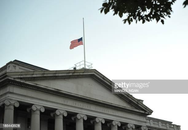 A October 20 2013 photo shows the US Treasury on Pennsylvania Avenue in Washington DC Speaking on NBC's Meet the Press program US Treasury Jacob Lew...