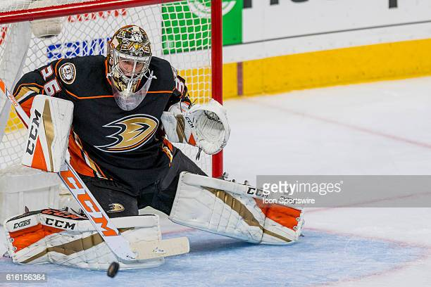 Anaheim Ducks goalie John Gibson makes the save during the NHL game between the Anaheim Ducks and the Philadelphia Flyers played at the Wells Fargo...