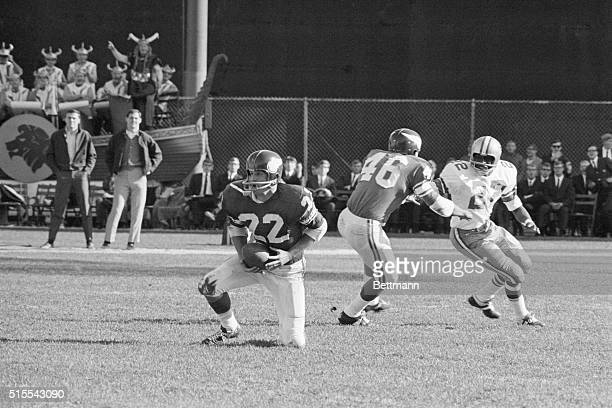 October 20 Minneapolis Minnesota Vikings Paul Krause holds the ball in his belly after intercepting a Don Meredith pass intended for Bob Hayer during...