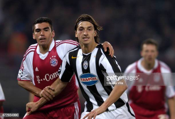 Zlatan Ibrahimovic of Juventus FC in action in action during the Champions League 2004/2005 macht played between Juventus Turin and Bayern Munchen at...