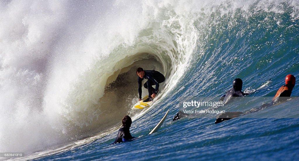 20 October 2005 Mundaka Spain Professional surfer Eneko Acero of Spain in action in a big wave at the beach break of Mundaka northern Spain Photo by...