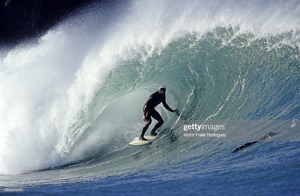 19 October 2005 Mundaka Spain Supanish surfer Jaime Fernandez rides a big wave in Mundaka northern Spain Photo by Victor Fraile Image by © Victor...