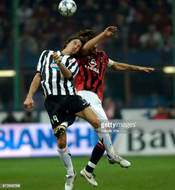 29 October 2005 Zlatan Ibrahimovic of Juventus and Paolo Maldini of Milan compete for the ball during the 10th Serie A round league match played...