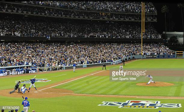 Dodgers Jonathan Broxton throws the last strike against Cubs Alfonso Soriano during the National League Division Series Game 3 between the Chicago...