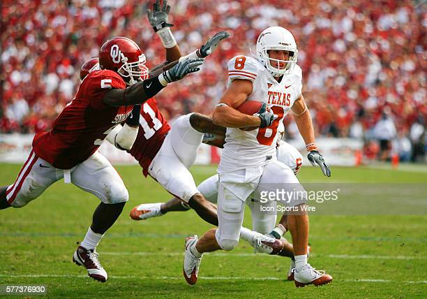 Texas wide receiver Jordan Shipley running to the one yard line during the game between the University of Oklahoma Sooners and the University of...
