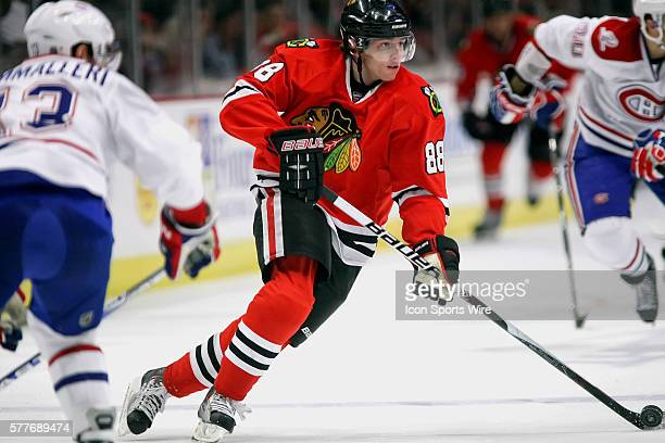 Chicago Blackhawks right wing Patrick Kane handles the puck in game action The Chicago Blackhawks defeated the Montreal Canadiens by the score of 32...