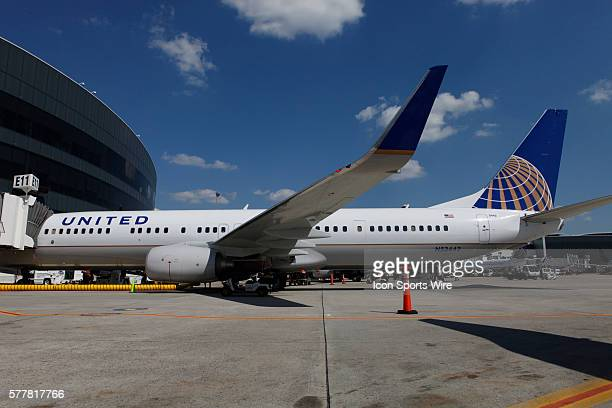 A Boeing Company 737924 extended range jet bearing United Airlines livery and the Continental Airlines logo is seen following the inaugural flight...