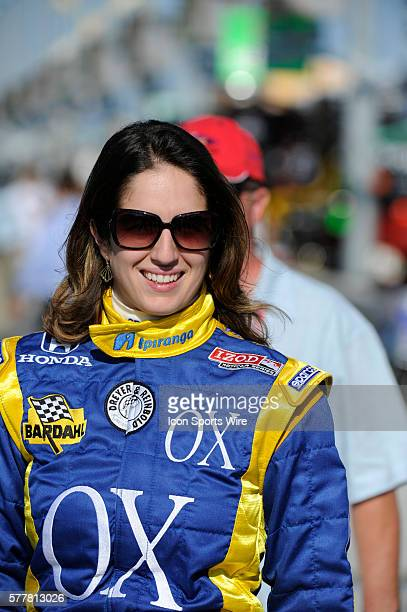 Ana Beatriz smiles on pit row during the qualifying for the Cafes do Brasil Indy 300 IZOD INDYCAR series race at the HomesteadMiami Speedway in...