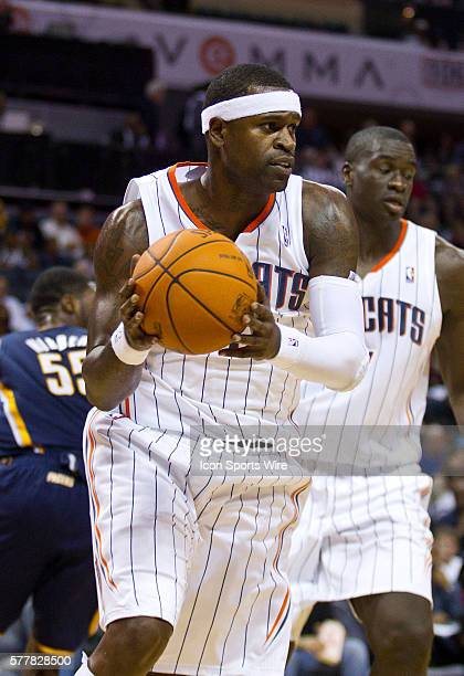 Charlotte Bobcats shooting guard Stephen Jackson pulls down a rebound against the Indiana Pacers during an NBA basketball game at Time Warner Cable...