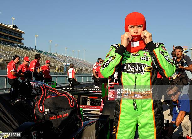 Danica Patrick gets ready on pit row during the qualifying for the Cafes do Brasil Indy 300 IZOD INDYCAR series race at the HomesteadMiami Speedway...