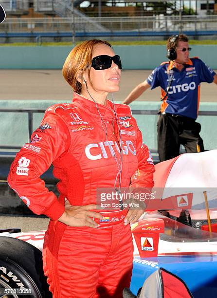 Milka Duno on pit row during the qualifying for the Cafes do Brasil Indy 300 IZOD INDYCAR series race at the HomesteadMiami Speedway in Homestead FL