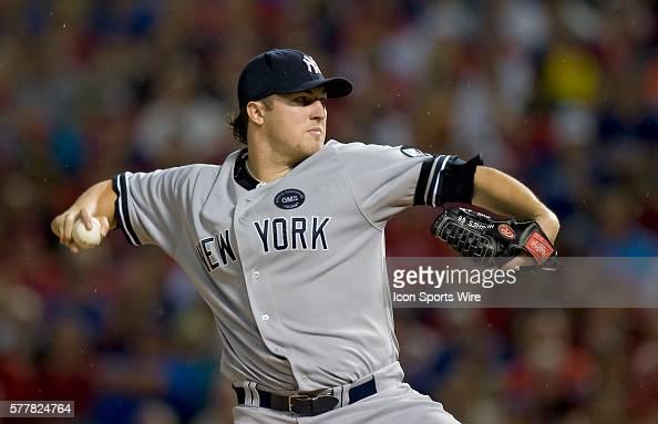 NY Yankees Vs Texas Rangers ALCS Game 2 Yankee starting pitcher Phil Hughes Rangers Ballpark Arlington TX